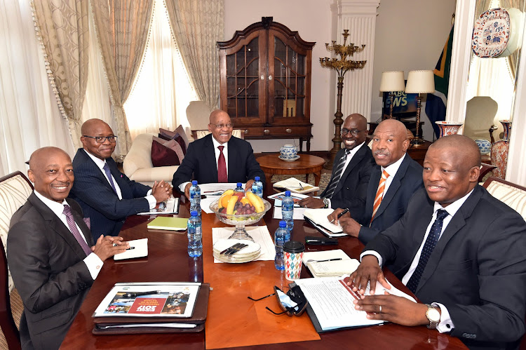 Former Sars commissioner Tom Moyane, former deputy finance minister Sifiso Buthelezi, former president Jacob Zuma, former finance Minister Malusi Gigaba, SA Reserve Bank governor Lesetja Kganyago and former Treasury director-general Fuzile Lungisa. Picture: ELMOND JIYANE/GCIS