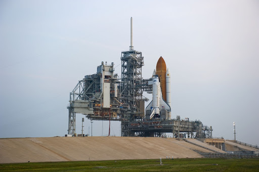 Sunrise finds space shuttle Atlantis on Launch Pad 39A was lifted into the payload changeout room.