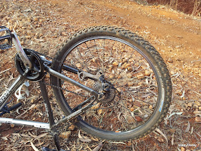 Photo: Big and Big.. This is what happens when the chain is not long enough for that combination.. It came out of the derailuer and got struck..