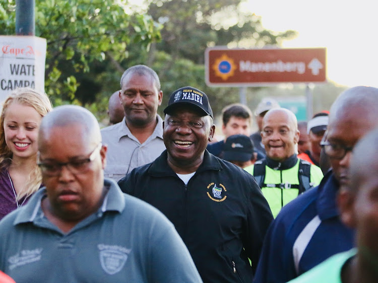 President Cyril Ramaphosa led members of the public on his morning walk from Gugulethu to Athlone, Cape Town, February 20 2018. Picture: ESA ALEXANDER/ SUNDAY TIMES