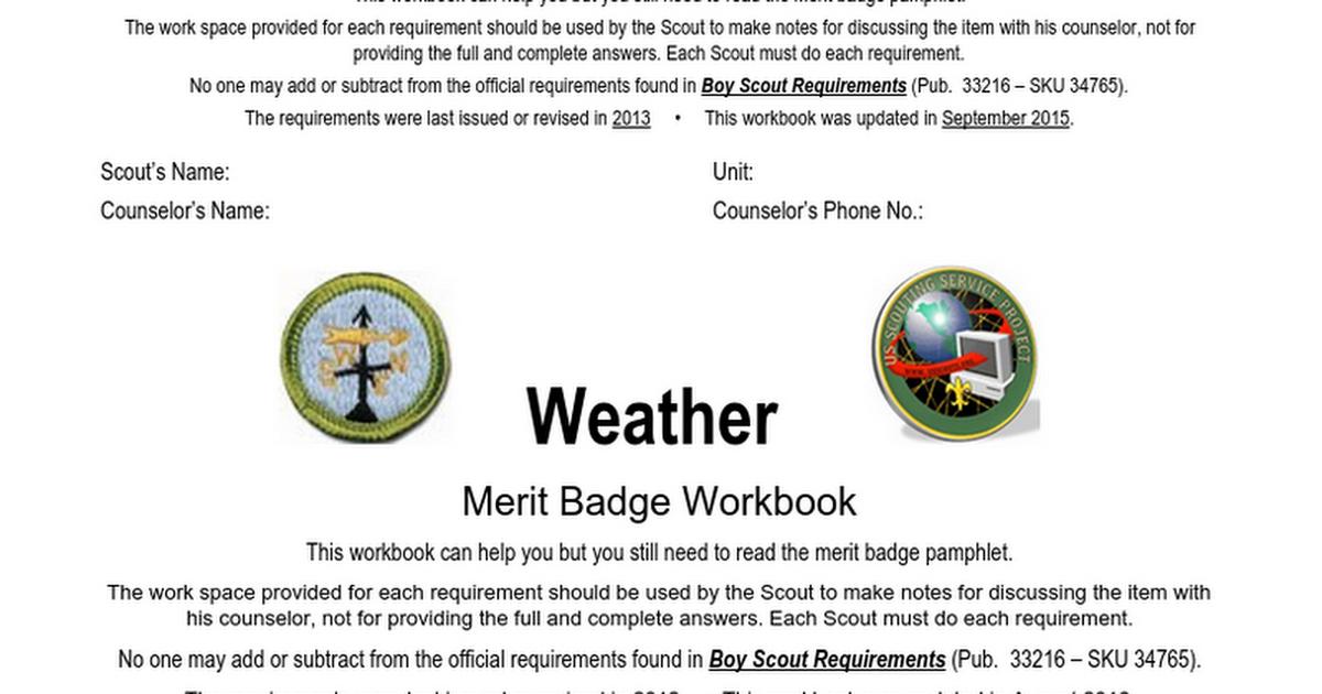 34 Weather Merit Badge Worksheet   Free Worksheet Spreadsheet