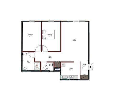 Location appartement 3 pièces 74,31 m2