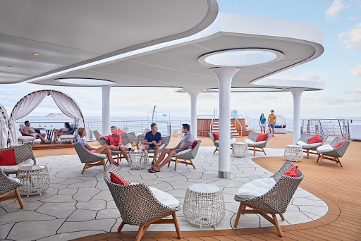 Head to the Vista on the main deck of Celebrity Flora to meet new friends and take in the sights of the Galapagos.