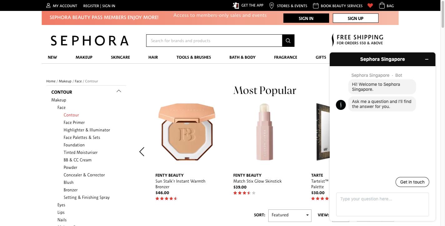 Sephora website chatbot