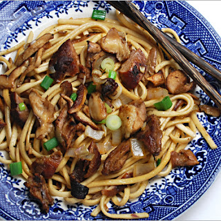 Chinese Duck Pasta with Mushrooms.