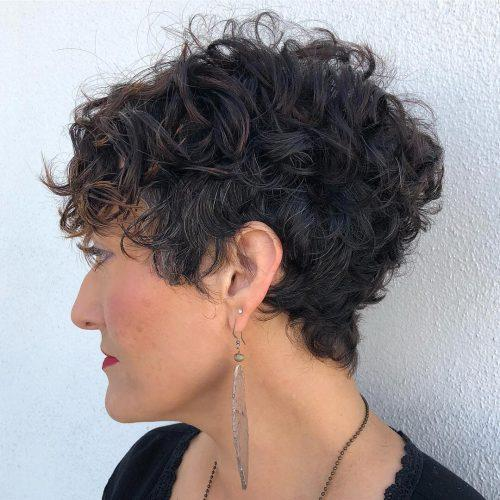 Voluminous Pixie cut for curly hair