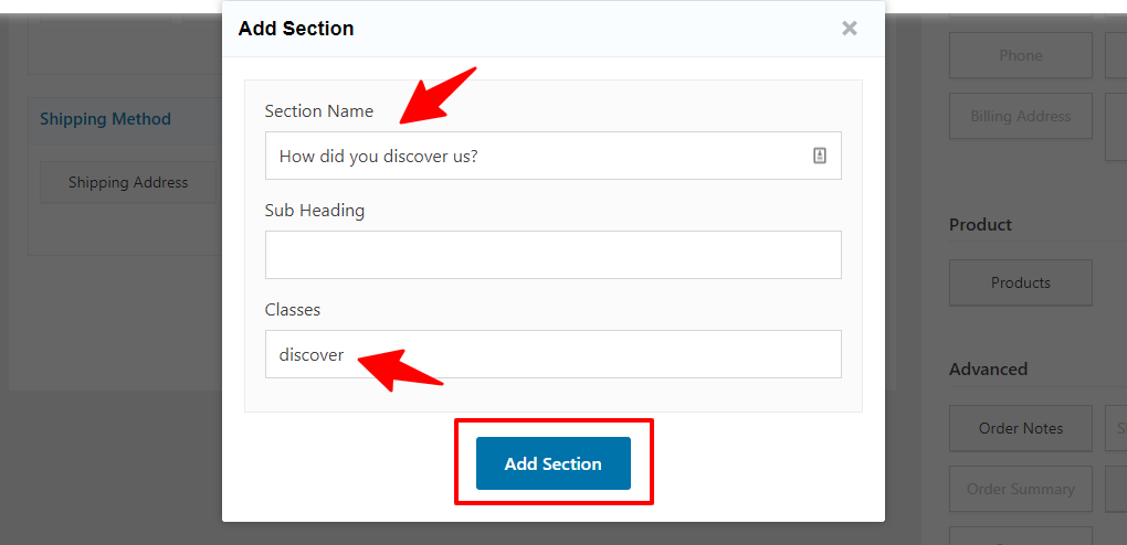 Enter the section name, sub heading and classes to create it
