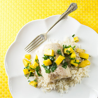 Mahi Mahi with Coconut-Ginger Rice and Mango Salsa.