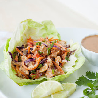Slow Cooker Thai Chicken Lettuce Cups with Peanut Sauce Recipe