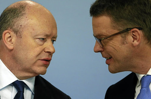 John Cryan, former CEO of Germany's Deutsche Bank, and new CEO Christian Sewing attend the bank's annual news conference in Frankfurt, Germany, on February 2 2018. Picture: REUTERS/RALPH ORLOWSKI