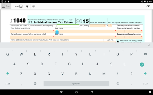 IRS 1040 form- screenshot thumbnail