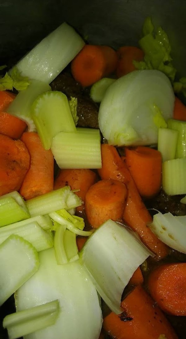Meat, carrots, onions, celery.