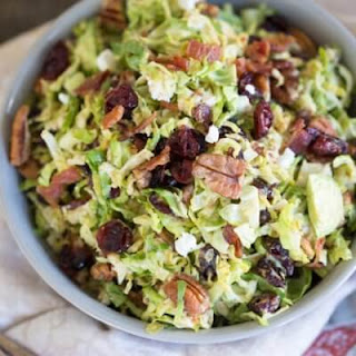 Shaved Brussels Sprout Salad with Citrus Bacon Dressing.