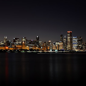 Chicago at Night by Andrea Silies - City,  Street & Park  Skylines ( night, chicago, city,  )
