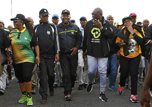 ANC president Cyril Ramaphosa, middle, should look to many bright sparks the party has, such as Parks Tau and David Makhura, both flanking him, to forge a strong leadership for ANC. / Masi Losi