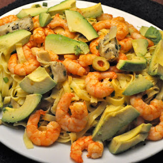 Warm Pasta Salad with Shrimp and Avocados.