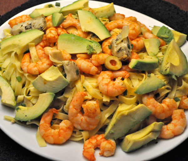 Warm Pasta Salad with Shrimp and Avocados Recipe