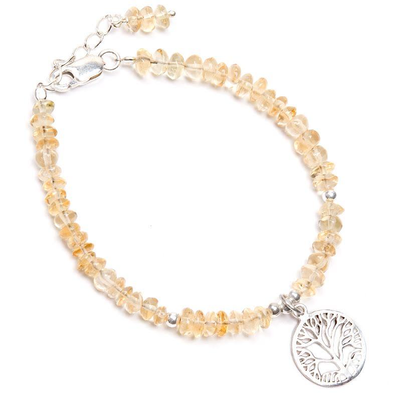 Citrin, armband med livets träd i silver