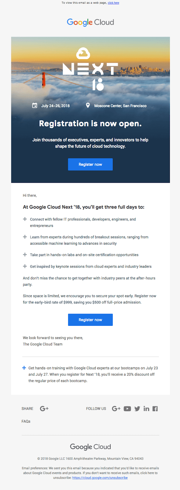 NEXT Google event invitation email design
