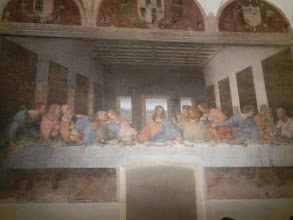 "Photo: From ""red and fine"" to ""bread and wine."" We drove to Milan, stayed the night, and then got up in the morning to see DaVinci's Last Supper at Santa Marie delle Grazie."