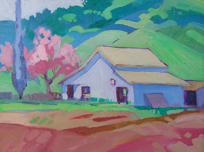 Photo: Eugene O'Neill's Barn, Danville, oil painting by Nancy Roberts, copyright 2014.