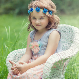 Young Lady by Sandra Hilton Wagner - Babies & Children Child Portraits ( beautiful, outdoors, young, caucasian, female, girl, portrait, sitting, summer, child )