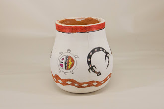 "Photo: Ed Karch 6"" x 5"" bowl ""Pueblo Critters"" [cherry]"