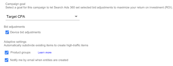 Bing Shopping Campaign Campaign goal section in campaign editor settings. Mobile bid adjustments check box selected and under Adaptive settings, Product groups and Notify me by email when entities are created check boxes are selected.