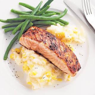 Jerk Salmon With Corn Mash.