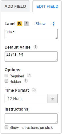 123FormBuilder change time display for field
