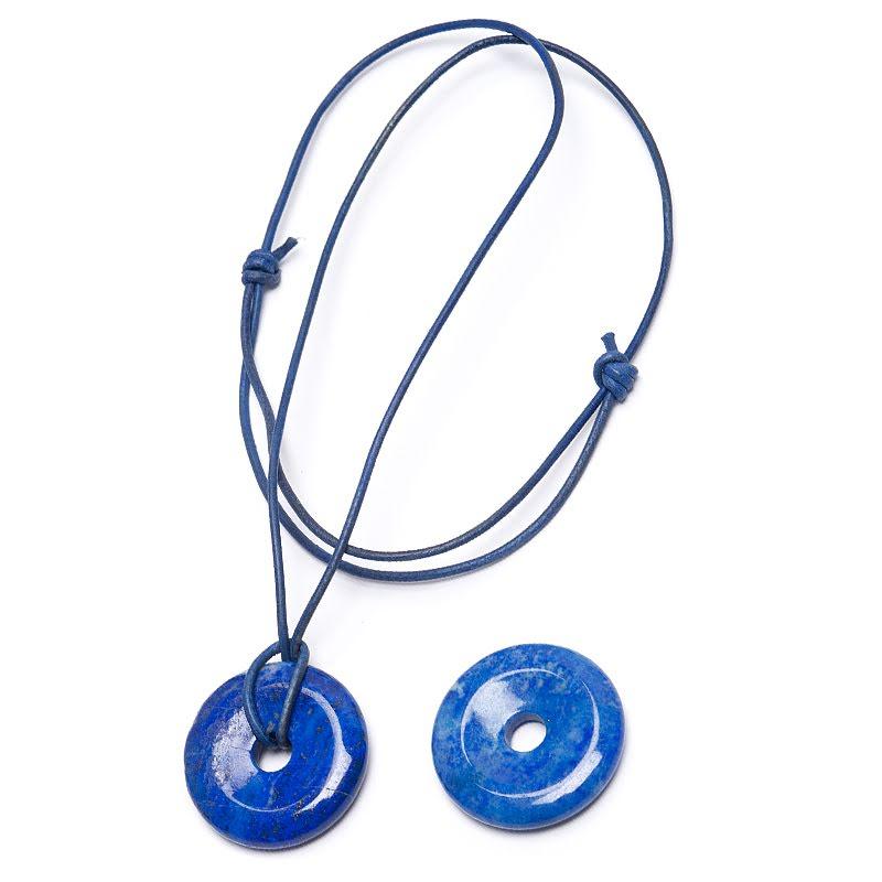 Lapis Lazuli, donut hänge med eller utan blå läderrem