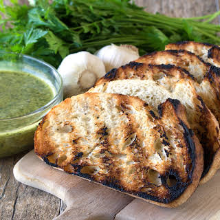 Grilled Bread with Chimichurri Sauce.