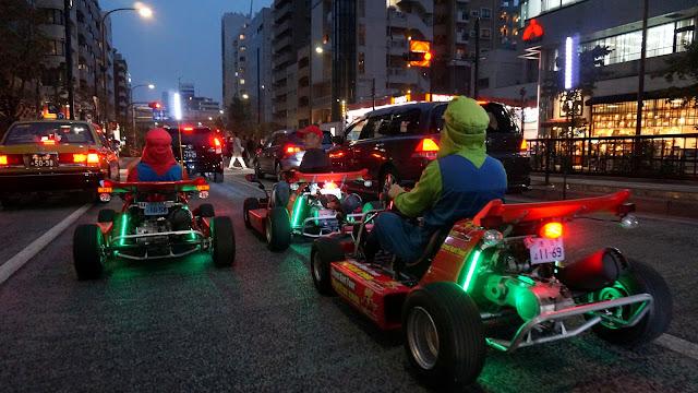 Mario Karts in Tokyo by night in Tokyo, Tokyo, Japan