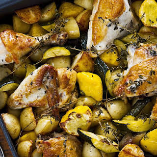 Lemon and Thyme Roasted Chicken with Autumn Vegetables.