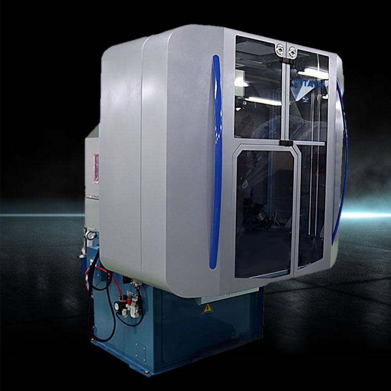 画像は、弊社筐体請負・製作事例で、株式会社 板屋製作所「コンピュータ制御スプリングマシン」です。筐体の構造は、部材の機械装置フレームに板金カバー取り付け、材質は、SPCCでメラミン焼付塗装仕上げしました。機械カバーの材質はSPCC、SUS、SS400、アルミなどがよく使用されます。オプションユニットの着脱対応にはリベットを使用しています。本製品は、柔軟な体制で開発を支援すべく、お客様の工場へ出張し据え付けまで請け負いました。