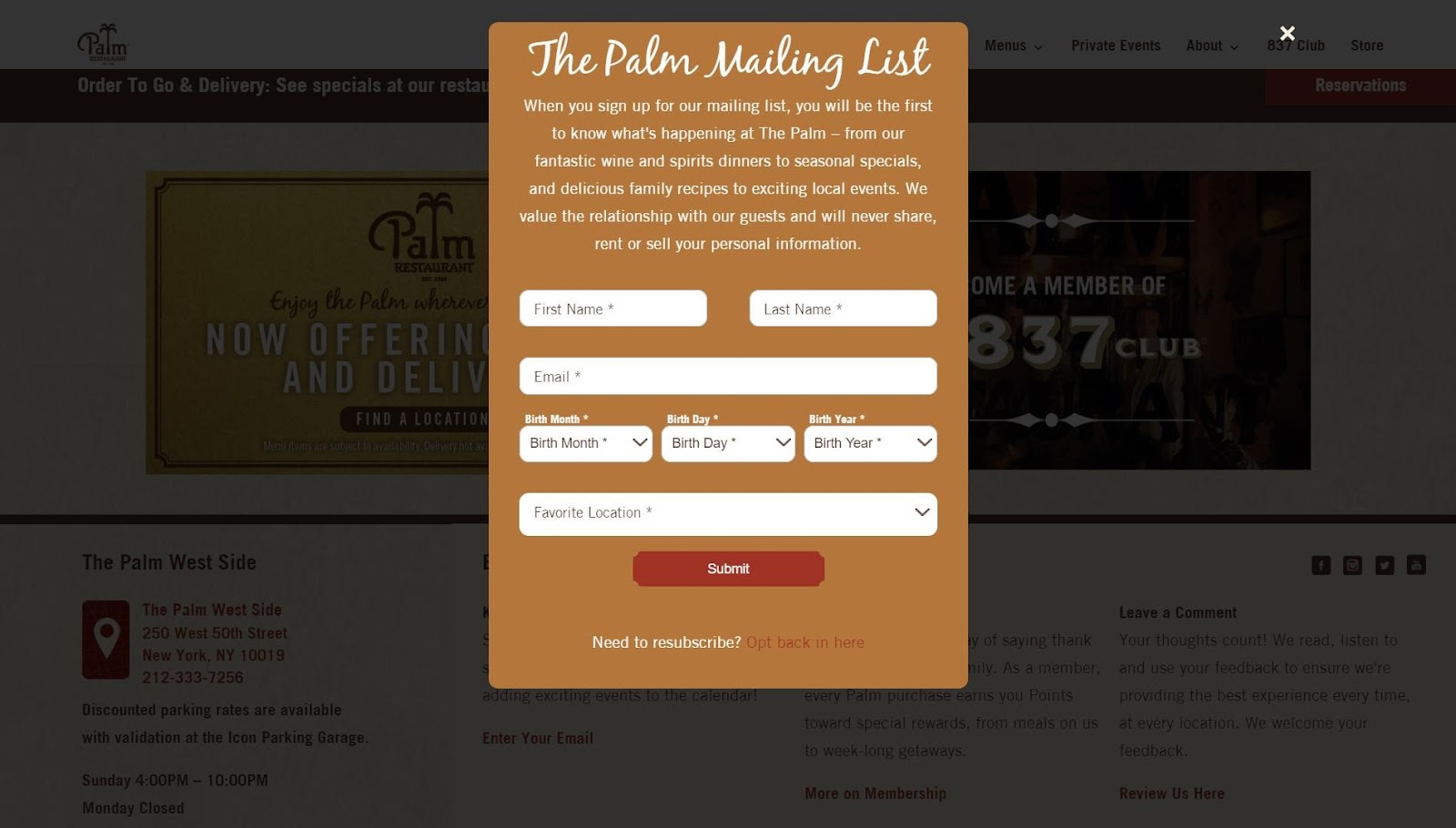 The pop up from Palm Restaurant's website - the background has a dark overlay to hide the website.