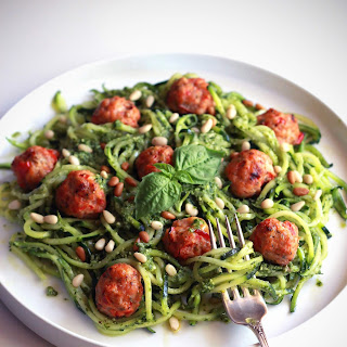 Pesto Zoodles with Mini Chicken Bacon Meatballs.