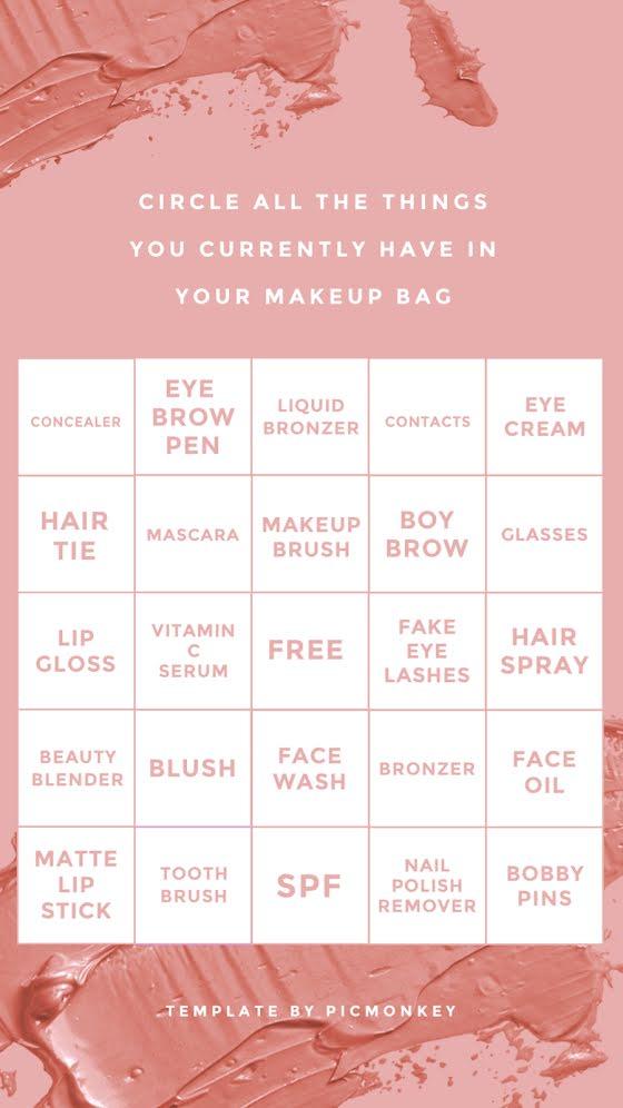 Makeup bingo - Facebook Story Template