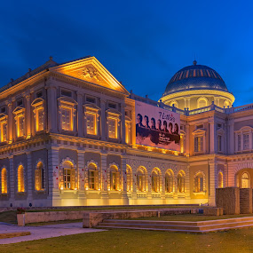 National Museum of Singapore by Binoy Uthup - Buildings & Architecture Public & Historical ( canon, digital blending, hdr, museum, architecture, hdr photography, singapore, heritage, history, urban, national museum, b;ue hour, architectural, historical )