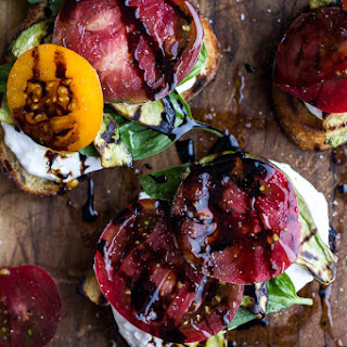Grilled Caprese Toast with Burrata Cheese + Grilled Avocados.