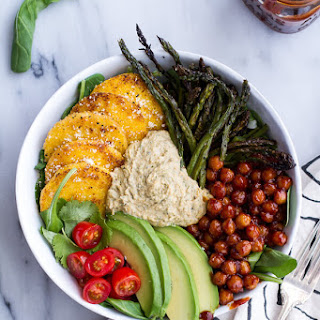 BBQ Chickpea and Crispy Polenta Bowls with Asparagus + Ranch Hummus..