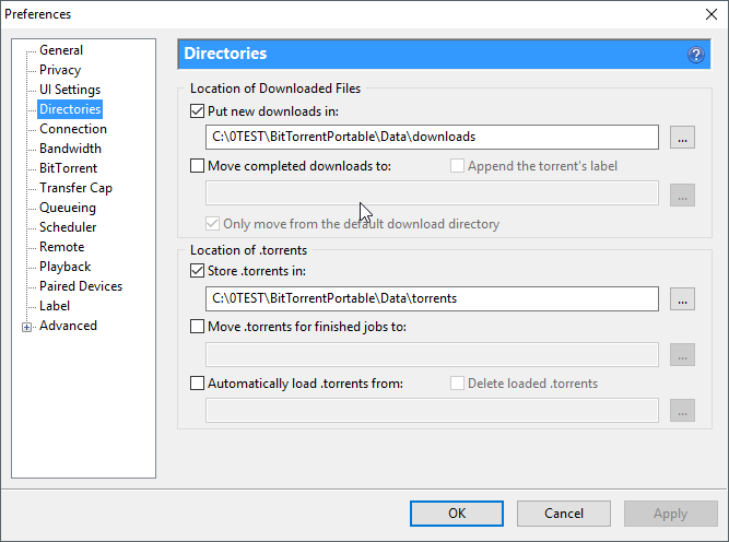 thumbapps.org BitTorrent portable, Preferences > Directories