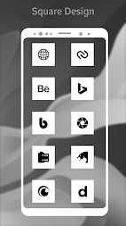 Square Pixel Dark White AMOLED UI - Icon Pack APK screenshot thumbnail 1