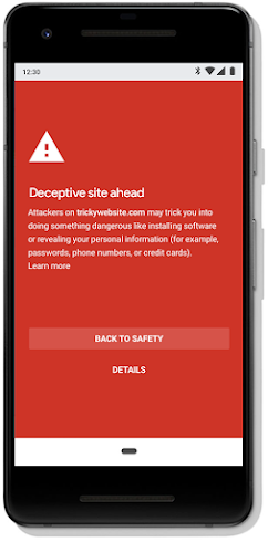 Safe Browsing alert on a mobile phone