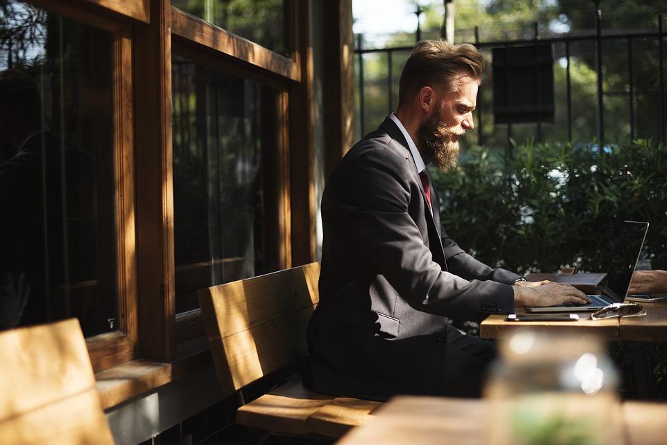 髭, ビジネス, ビジネスマン, カフェ, コーヒー ショップ, 通信, 接続, 企業, インターネット