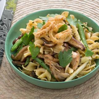Summer Bean & Mushroom Pasta with Crispy Shallot Rings