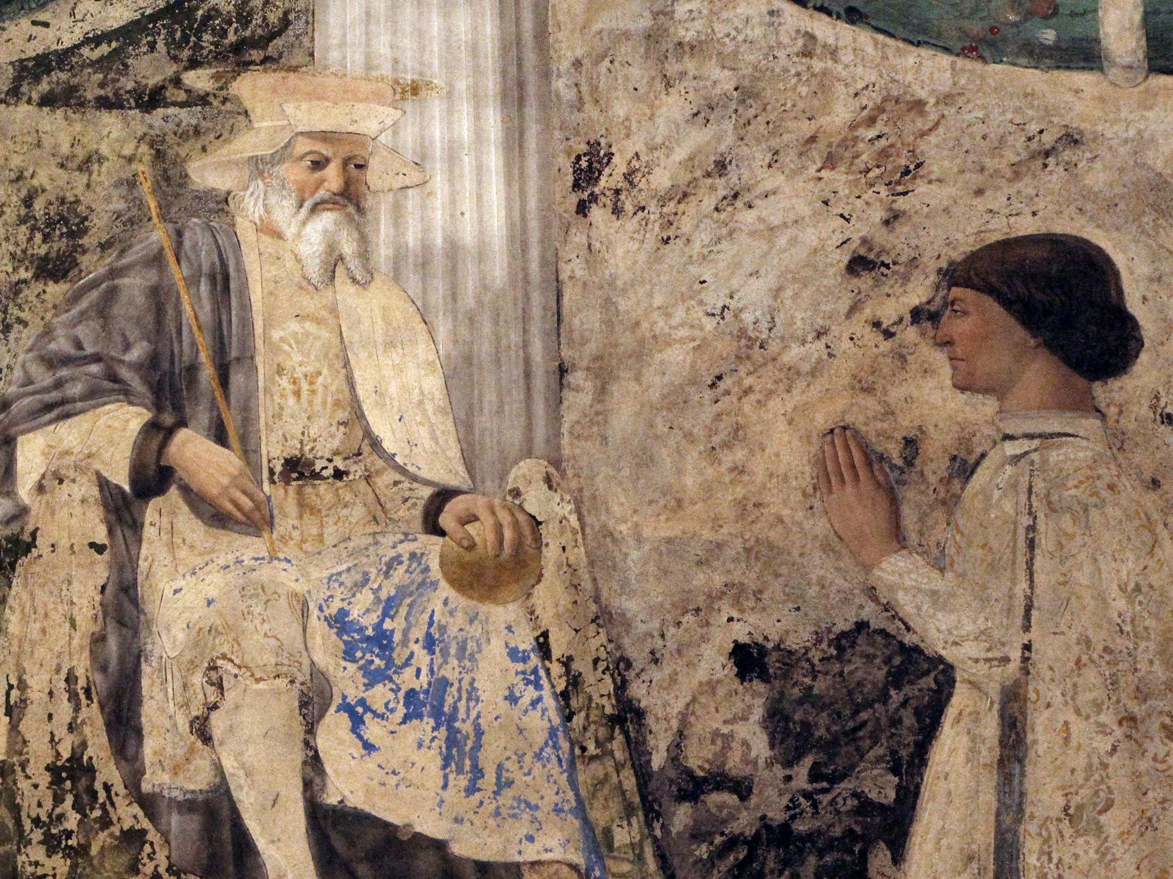 Piero della Francesca,Sigismondo Pandolfo Malatesta in preghiera davanti a san Sigismondo, (particolare),Tempio Malatestiano, Rimini