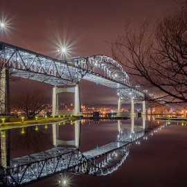 The connection by Bob  Jauch - City,  Street & Park  Skylines ( calm, harbor, night, bridge, duluth-superior )