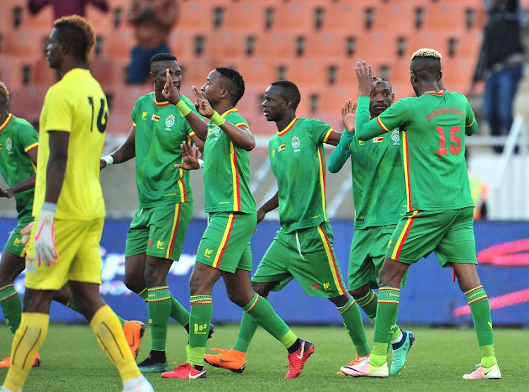 Khama Billiat of Zimbabwe celebrates goal with teammates scoring a penalty during the 2018 COSAFA Cup final match between Zambia and Zimbabwe at Peter Mokaba Stadiuml, Polokwane on 09 June 2018.