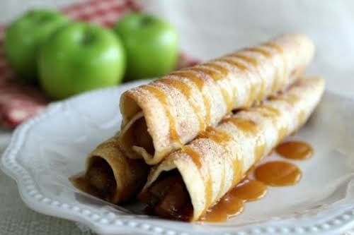 "Caramel Apple Pie Taquitos ""Apples with cinnamon sugar drizzled with caramel and..."